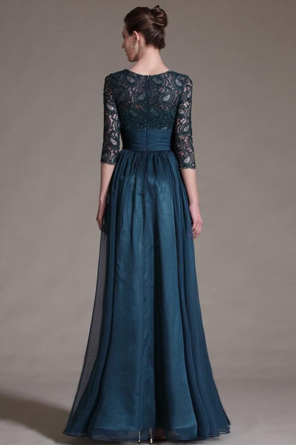 Темно синее платье с кружевным лифом
