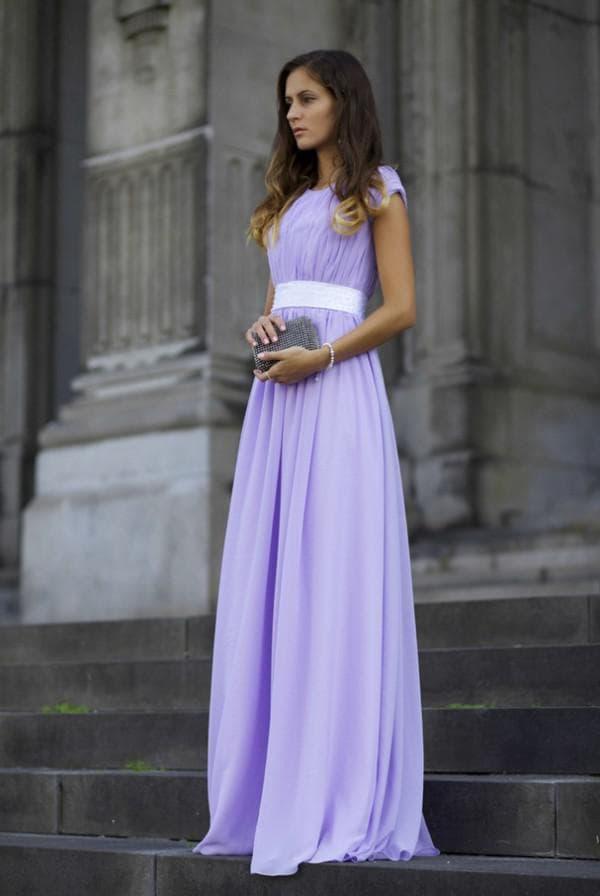 Фиолетовое праздничное платье в пол