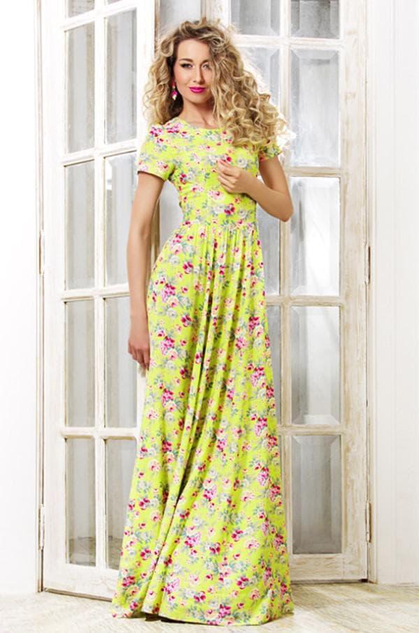Летнее штапельное платье в пол