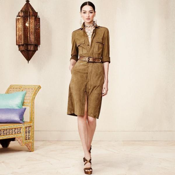 Модное сафари платье большого размера