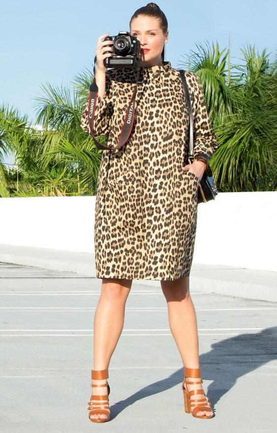 Платье сафари большого размера с принтом