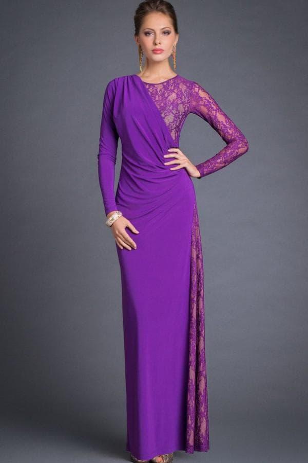 Вечернее прямое платье фиолетового цвета