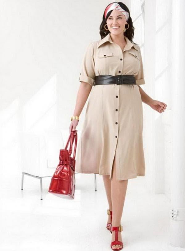 Платье рубашка в стиле сафари большого размера