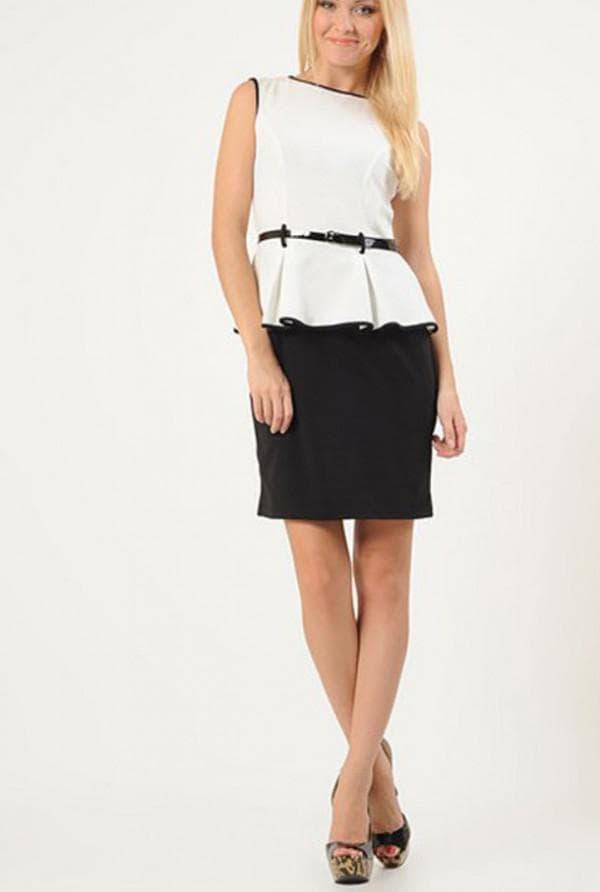 Платье чёрный низ белый верх с баской