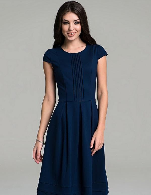 Синее школьное платье с короткими рукавами