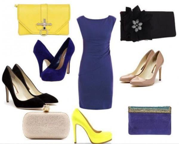 Синее офисное платье с какими туфлями сочетаются