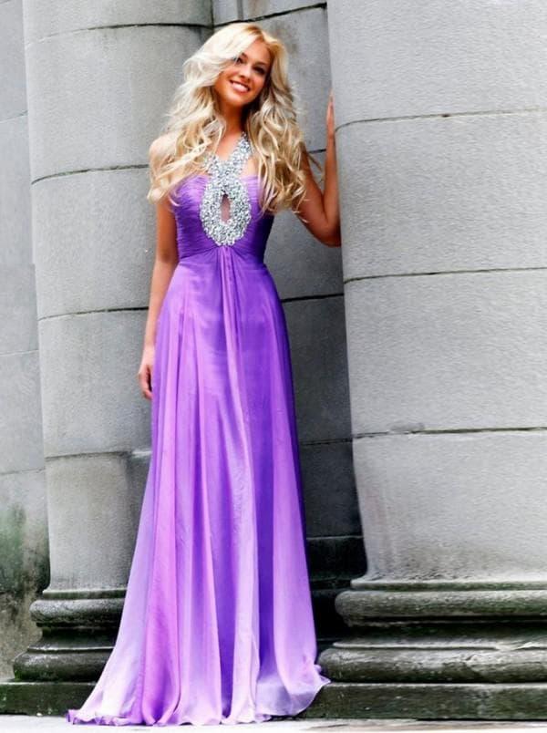 Лиловое платье в пол на праздник