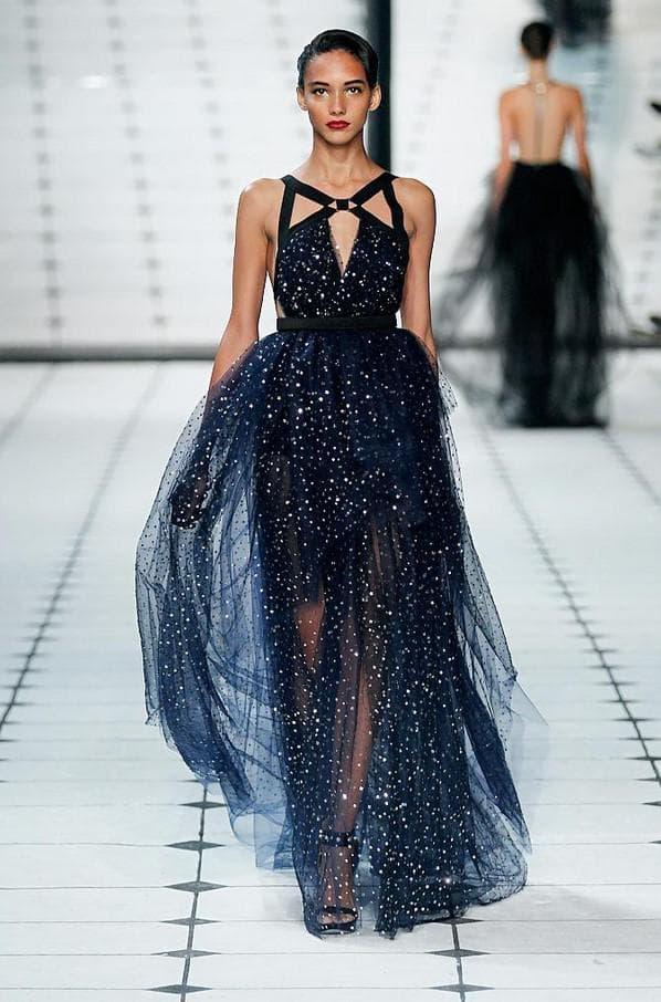 Дизайнерское темно синее платье