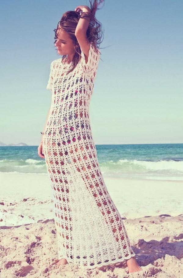 Длинное пляжное платье из кружева