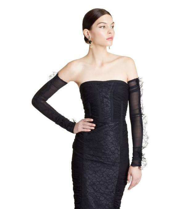 Чёрное платье рыбка без бретелей