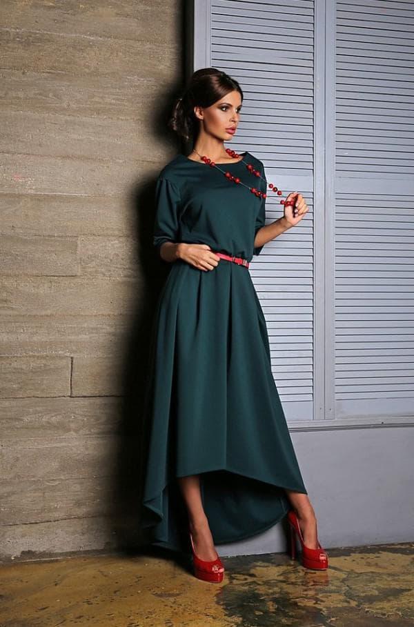 Повседневное темно зеленое платье
