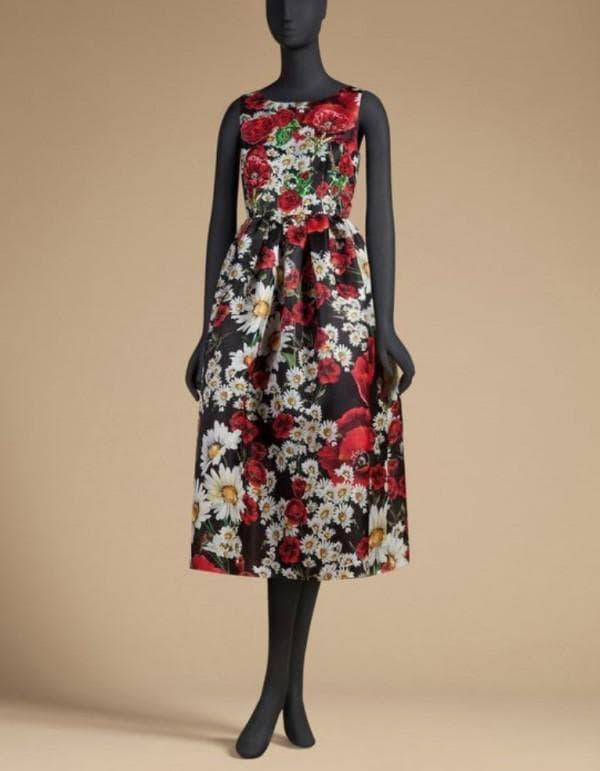 Дизайнерское платье миди с цеточным принтом