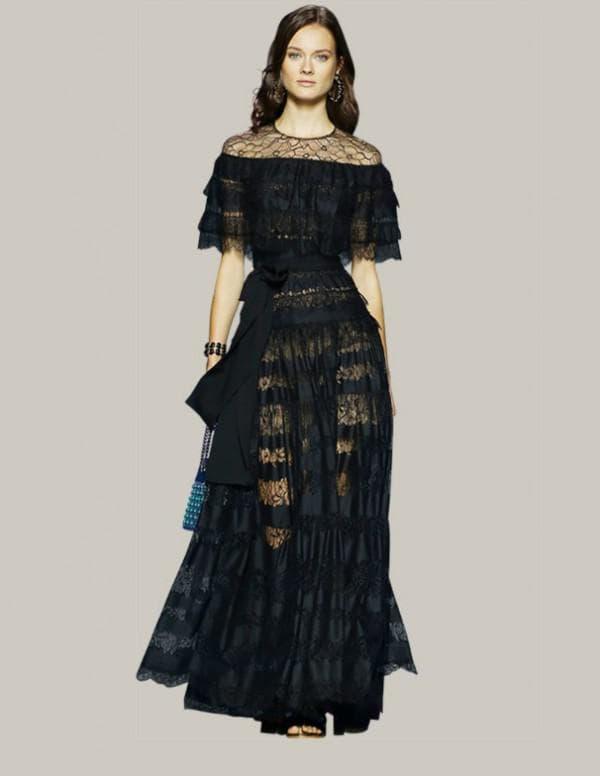 Черное платье в пол с воланами