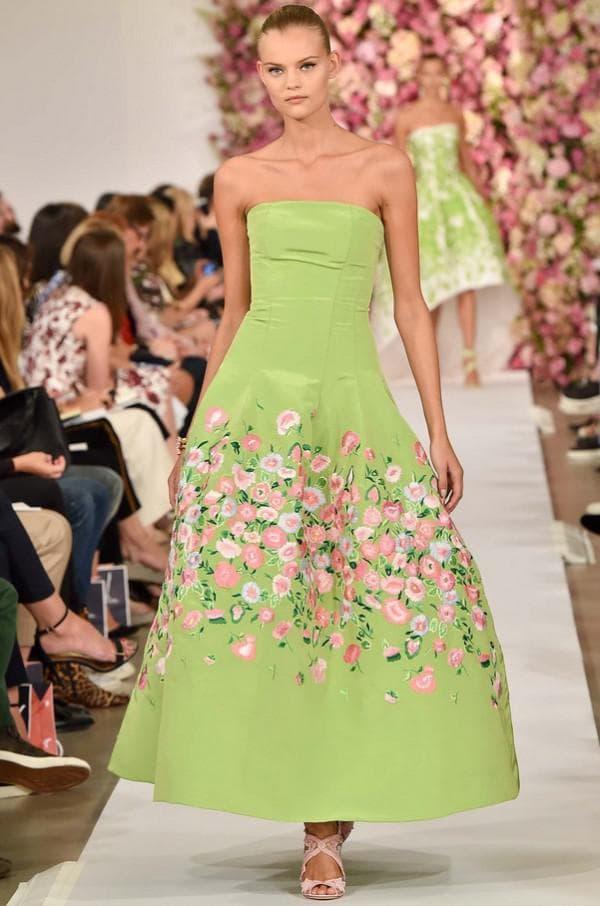 Зеленое пышное платье Оскар де ла Рента