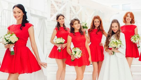 Красные платья мини для подруг невесты