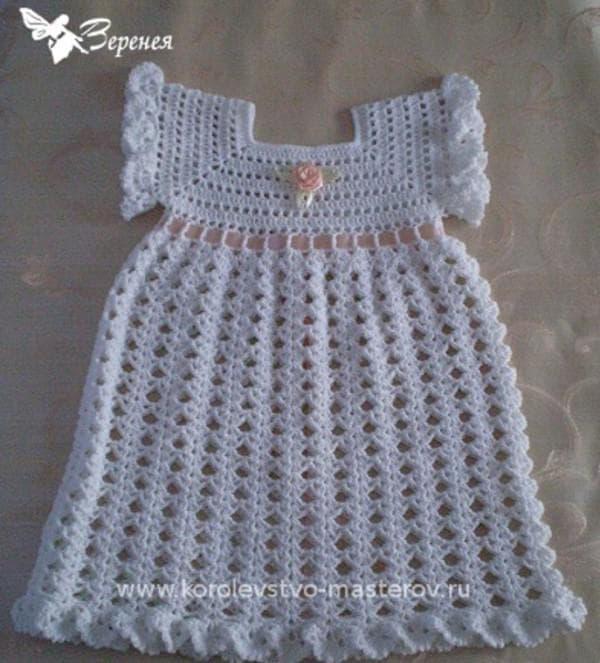 Крестильное платье вязанное крючком