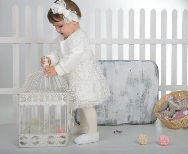 Крестильное платье и ободок для девочки