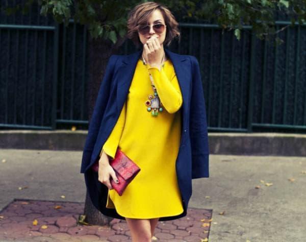 Осенний образ с жёлтым платьем