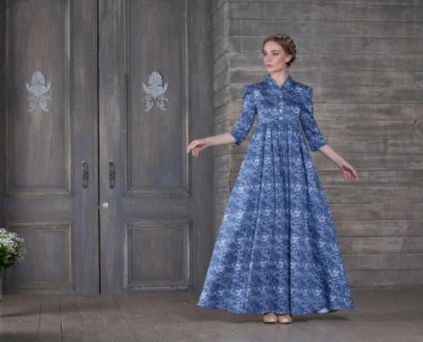 Длинное платье барышня-крестьянка в клетку
