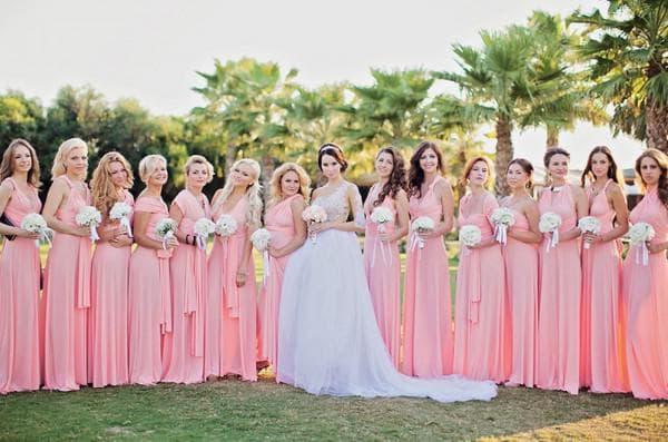 Розовые длинные платья для подруг невесты