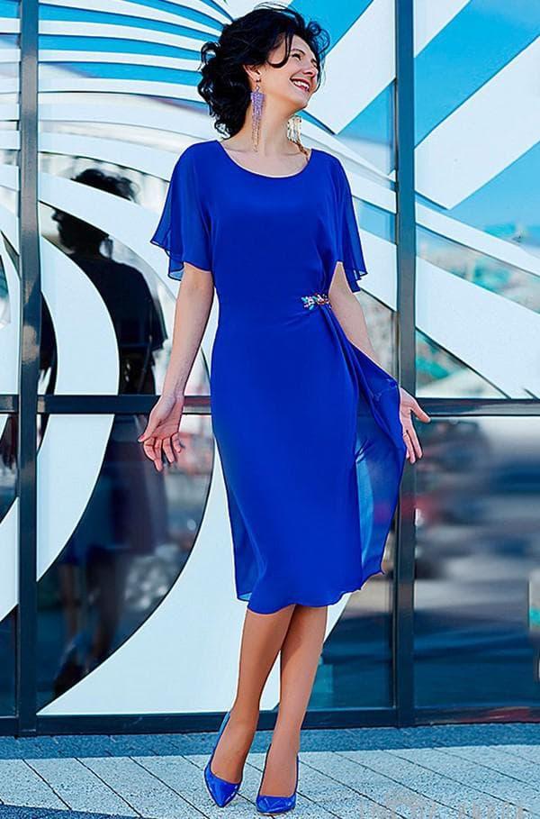 Синее платье миди
