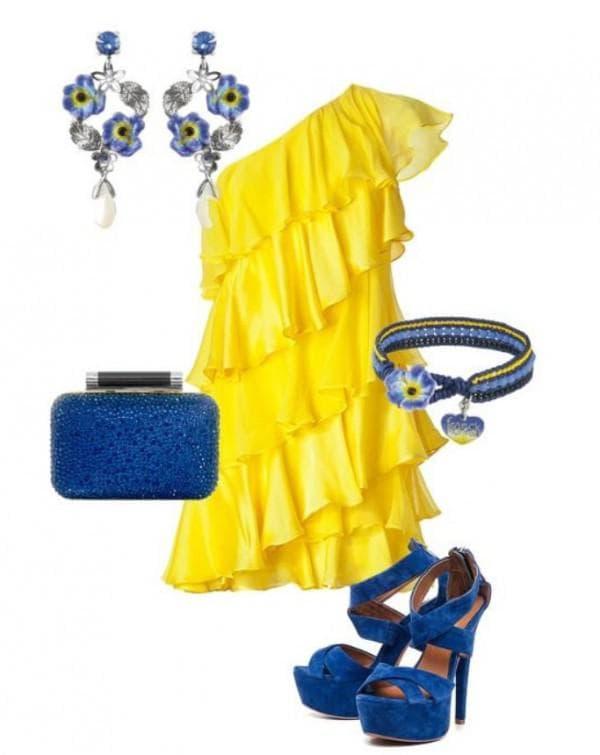Желтое коктейльное платье с чем носить