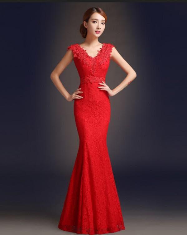Красное кружевное платье рыбка