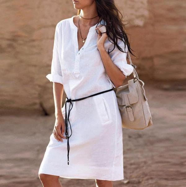Белое платье рубашка