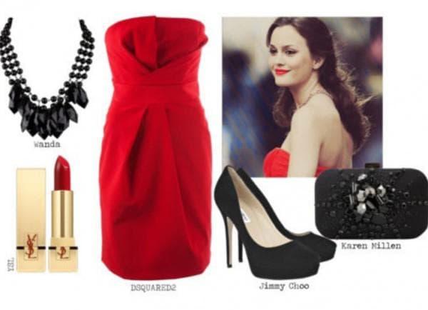 Макияж обувь под красное платье