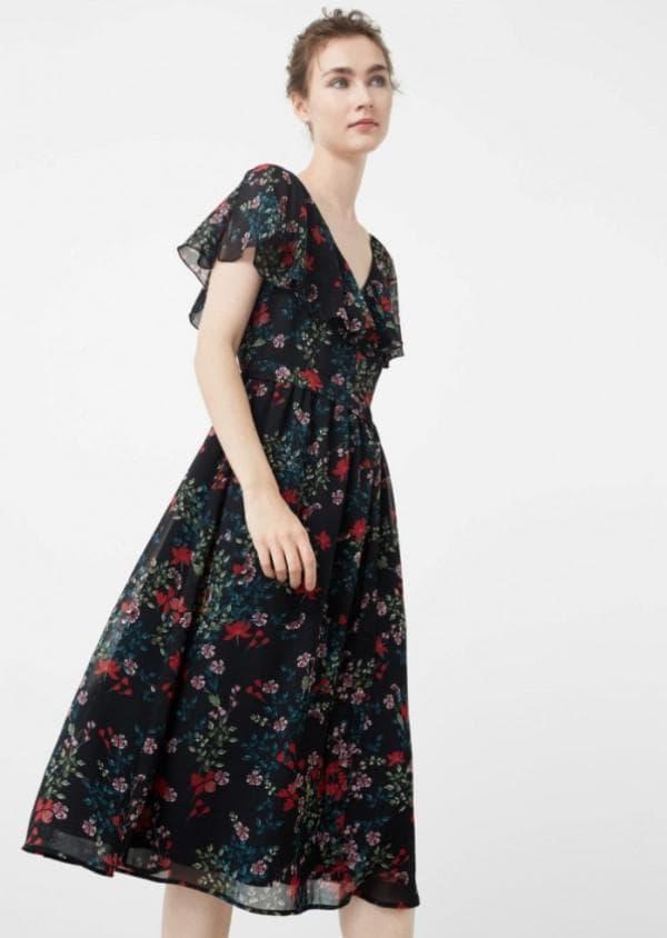 Платье французской длины в цветочек