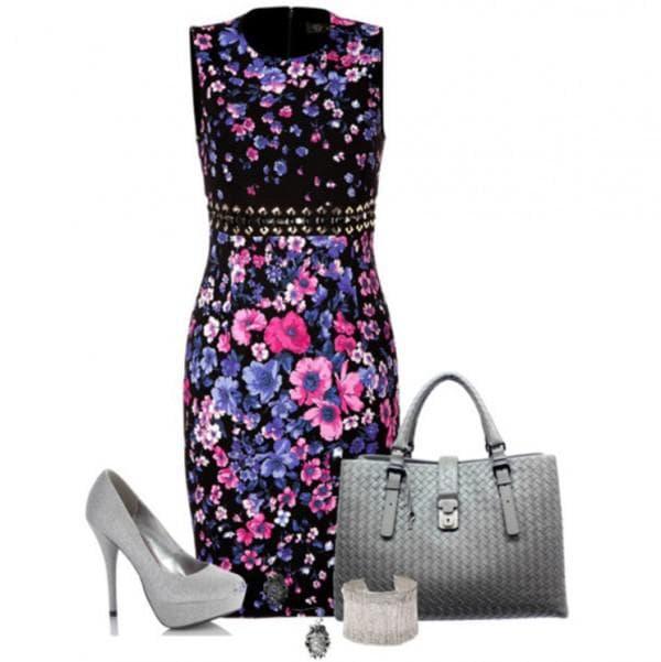 С чем носить платье в цветочек в офис