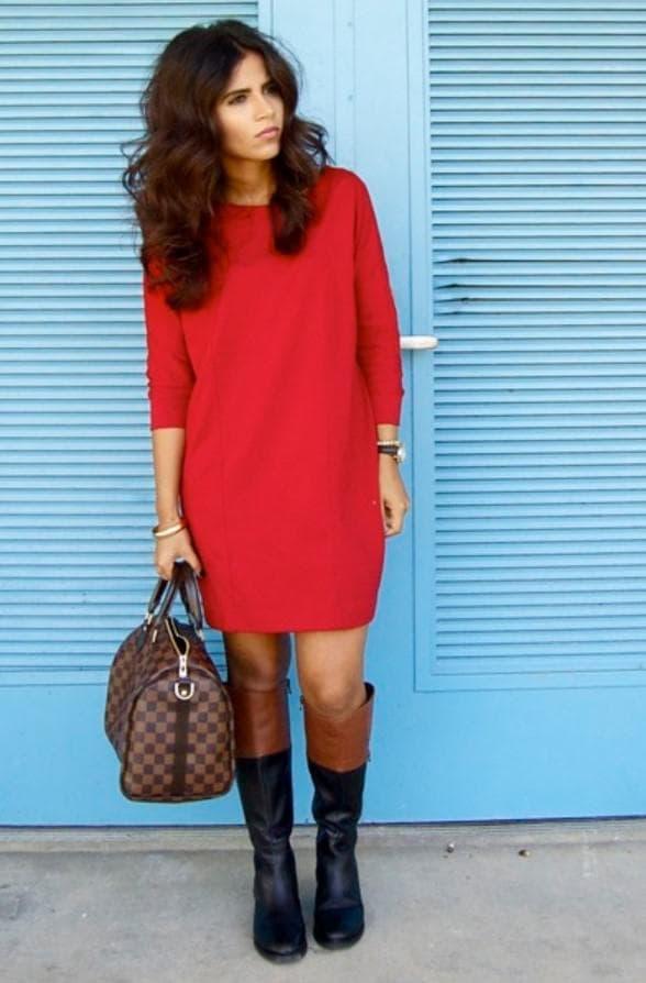 Офисный образ с красным платьем