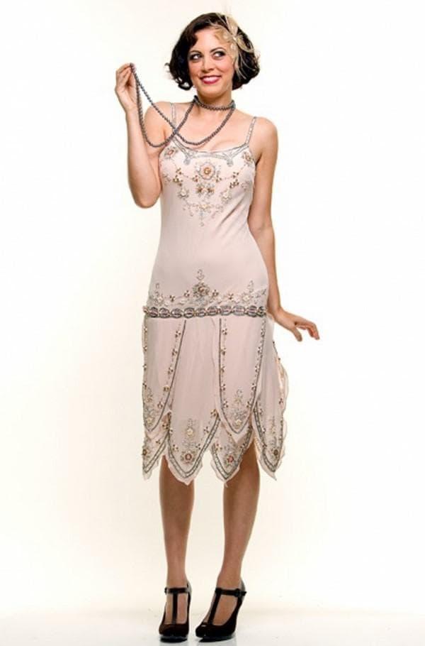 Платье в стиле великий гэдсби кремового цвета