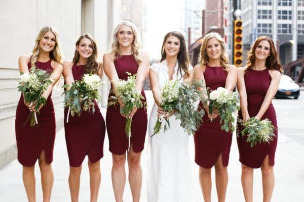Марсаловые платья для подружек невесты