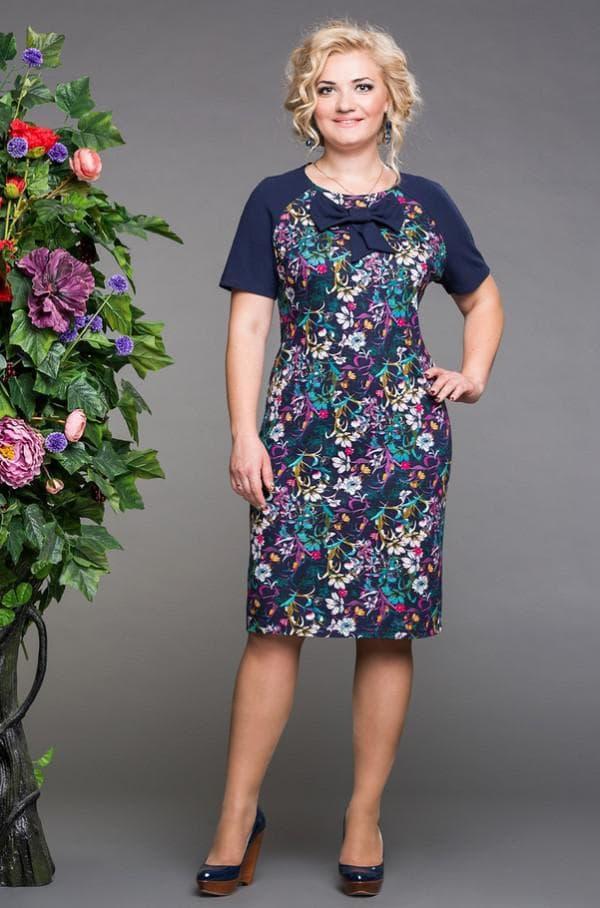 Платье миди в цветочек для женщин после 40
