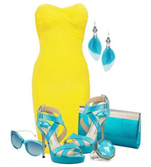 Сочетаем желтое платье с бирюзовыми аксессуарами