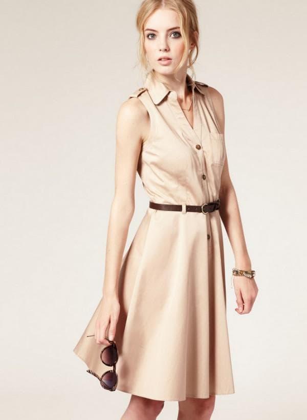 Платье рубашка в стиле сафари