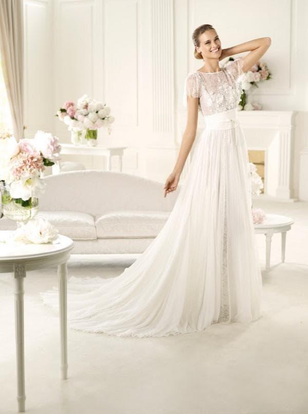 Шифоновое свадебное платье в пол