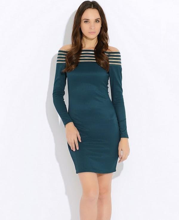 Темно зеленое платье мини