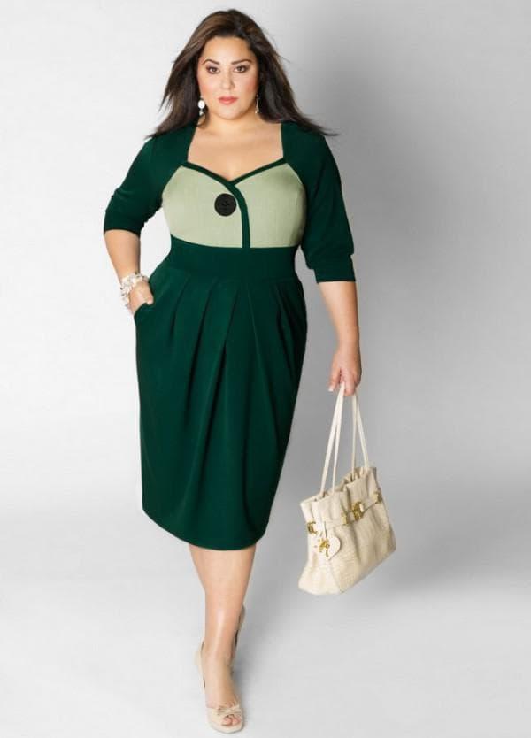 Зеленое повседневное платье миди для полных