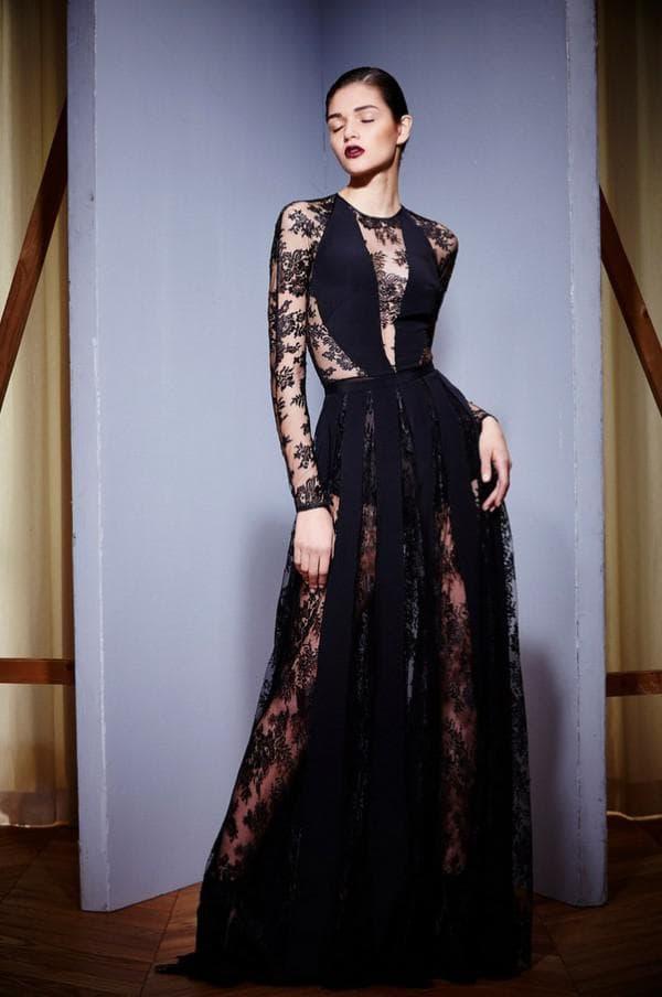 Чёрное модное платье в пол