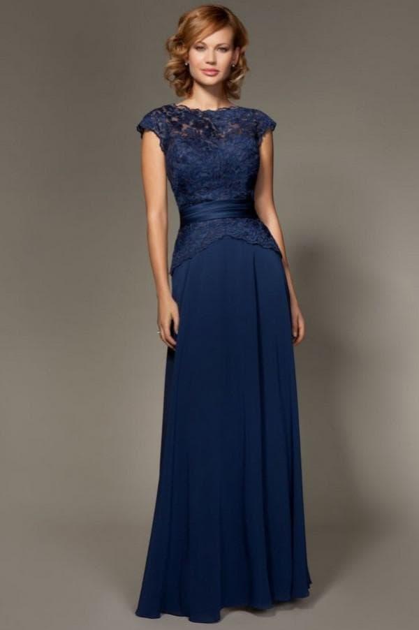 Синее вечернее платье для женщин после 40 лет