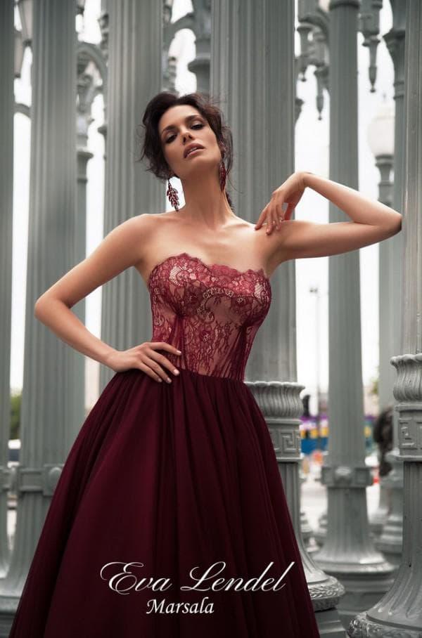 Дизайнерское вечернее платье цвета марсала
