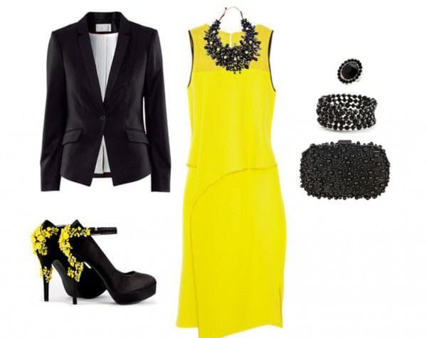 Желтое платье  с черным