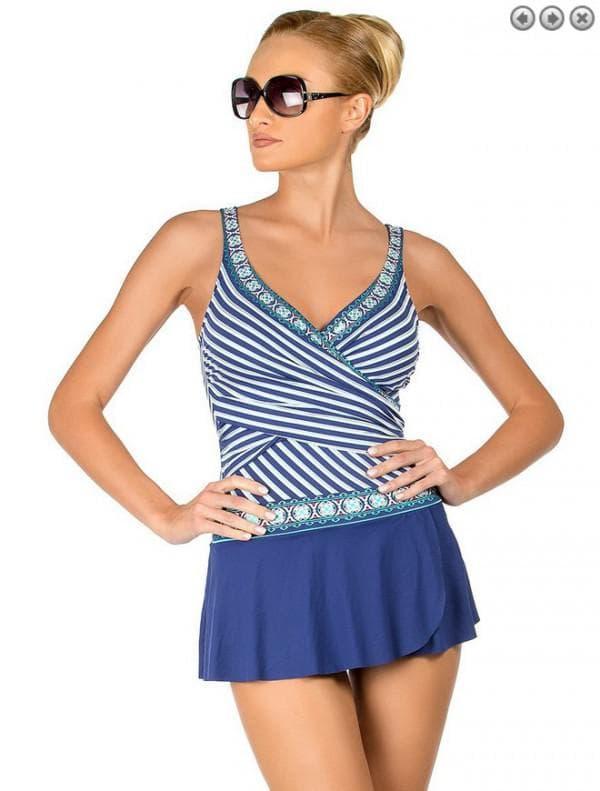 Синий купальник платье