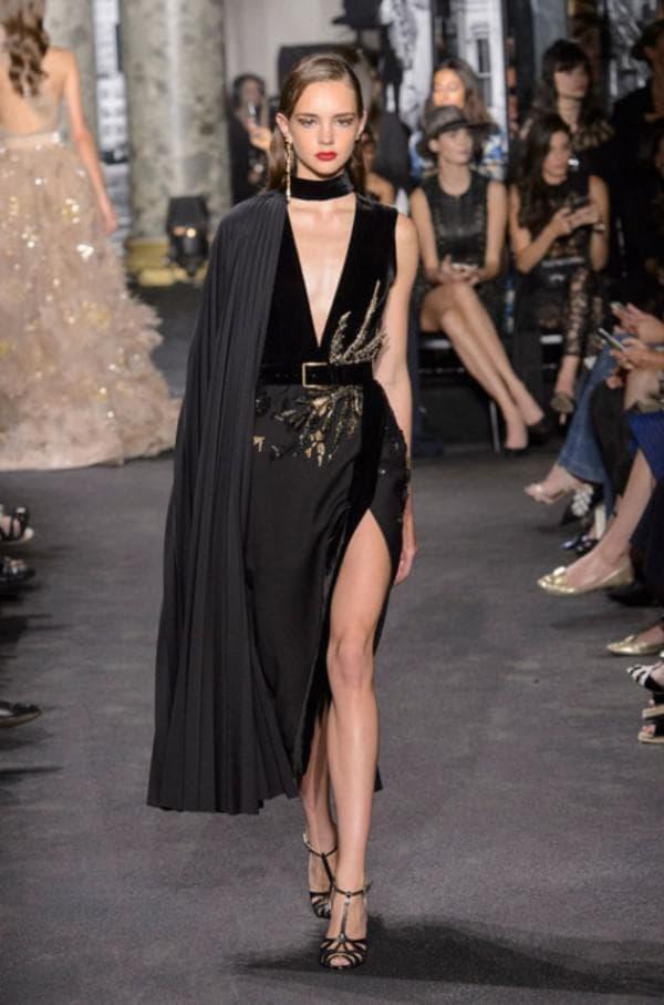Черное вечернее платье асимметричный крой