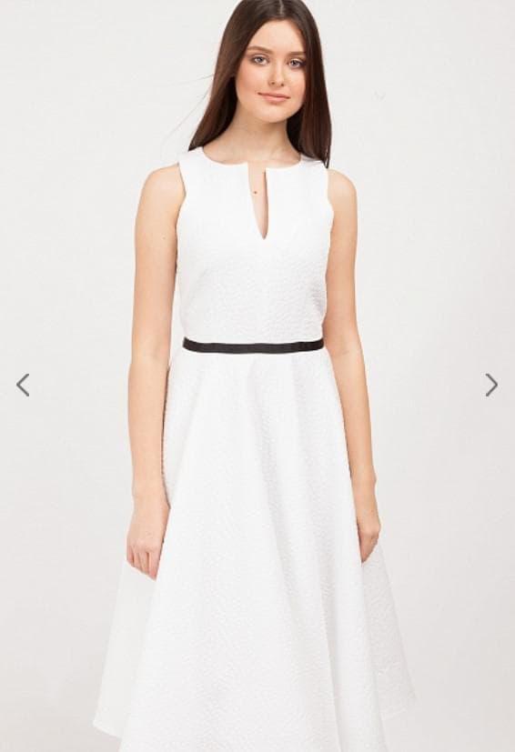 Белое повседневное платье миди