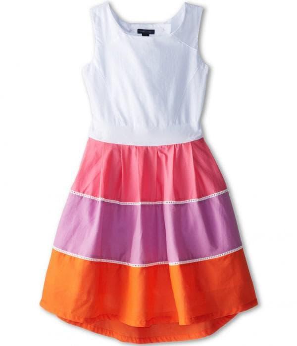 Детское нарядное платье в стиле колор блокинг