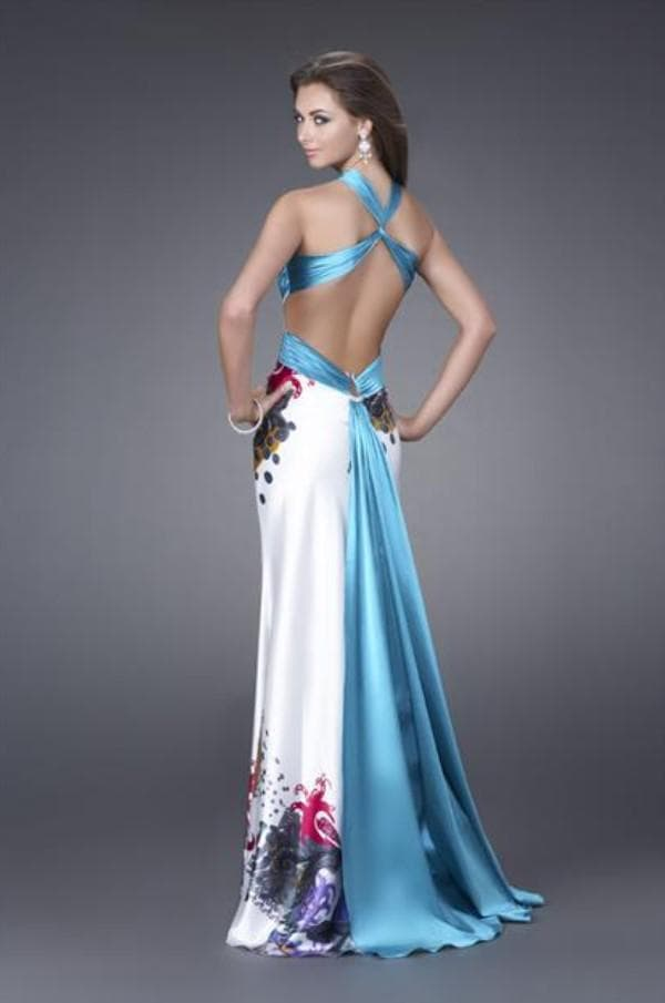 Атласное длинное платье цветное