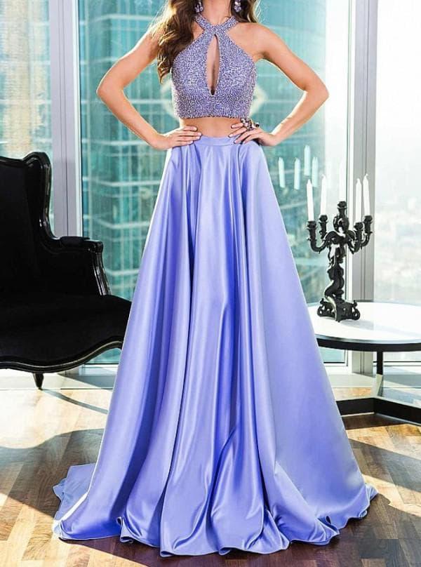 Сиреневое вечернее платье в пол
